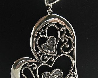 PE000675 Sterling silver pendant  solid 925 Big heart