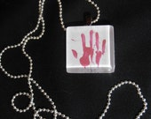 Bloody Hand Print necklace, Slide