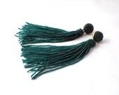 Beaded long tassel earrings -emerald green tassle- statement seed beads earrings- dangle earrings -bridesmaid earrings- long fringe clip on