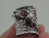 Hadar Jewelry Handcrafted Sterling Silver Garnet Ring size 7.5 (H 144)