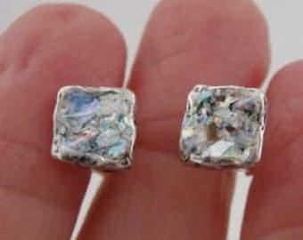 New Israel Handmade Classy 925 Sterling Silver Roman Glass Square Earrings (AS