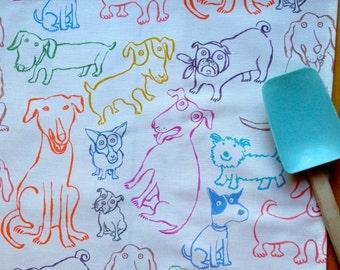 Dog Dish Towel Mutts Dog Print Kitchen Decor Original Design Nadine Westcott Illustrator Canine Dish Towel Handmade Nantucket Dog Lover