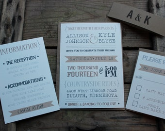 Wedding Invitation // Rustic Typography Style // Neutral & Modern // Outdoor or Country Wedding // Set of 50