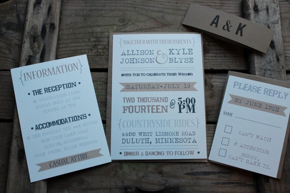 SAMPLE Wedding Invitation // Rustic Typography Style // Neutral & Modern // Outdoor or Country Wedding // Sample Only