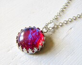 Fire Opal Necklace Red Pendant Gothic Jewelry Wiccan Jewelry Opal Jewelry Gothic Victorian Necklace Downton Abbey