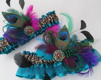 Teal Wedding Garter Set, Leopard Garters, Peacock PROM 2015 Garters, Feather Bridal Garters for Masquerade Ball / Steampunk Wedding