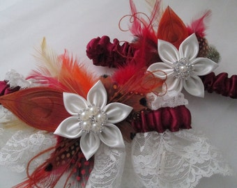 Rustic Autumn Wedding Garter Set, Peacock Garters, Lace Bridal Garters, Fall Colors - Cranberry, Maroon, Burgundy, Orange, Red, Gold