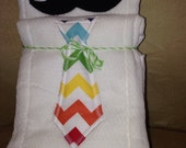 Mustache and Tie Burp Cloths, Set of Two with Chevron Stripes and Black and White Ties