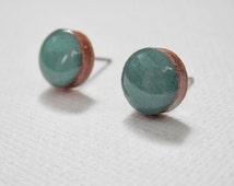 Grayed Jade Earrings -Greyed Jade Studs - Gray Jade Earrings - Color Trend Earrings - Sea Green - Sea Foam Green