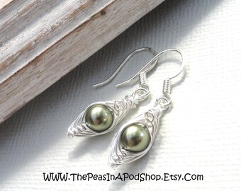 Peas in a pod, Peapod earrings, one pea in a pod earrings, silver earrings, green peas in a pod earrings