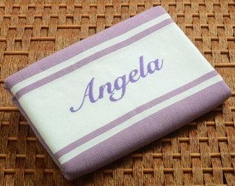 SALE %50 Off Personalized Turkish Towel - Karia Peshtemal - Monogrammed Embroidered - Purple - Spa Sauna Bachelorette Party Beach Wedding
