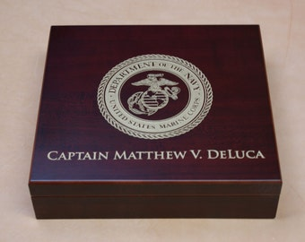 Engraved Humidor with Personalization + Branch of Military