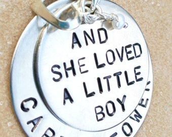 and she loved a little boy, Mothers Day Gift,  personalized necklace, necklace, mother necklace, gifts for mom, personalized jewelry