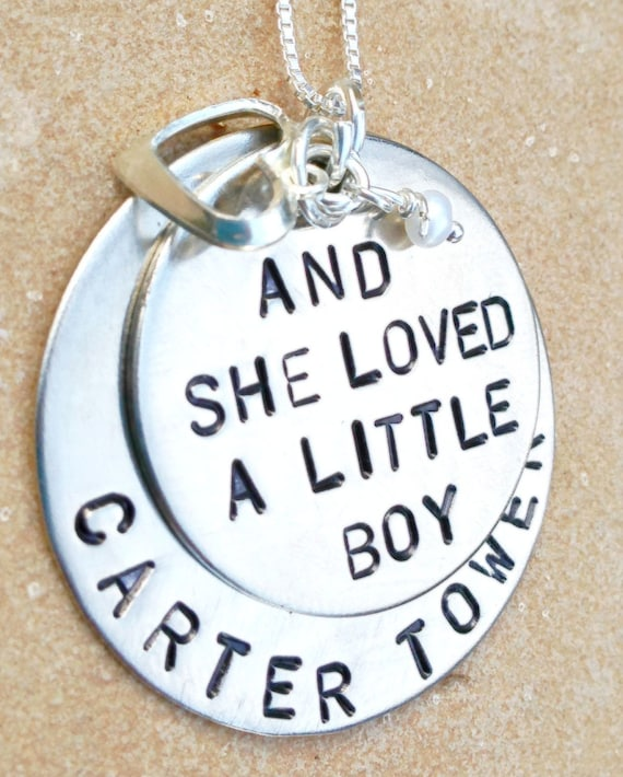 and she loved a little boy personalized necklace by