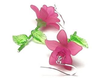 Pink Tea Rose Earrings, Bright Pink Flower Rose Swarovski Crystal Silver Dangle Earrings, Romantic Pink Rose, Jewelry, Hot Pink Gift Ideas