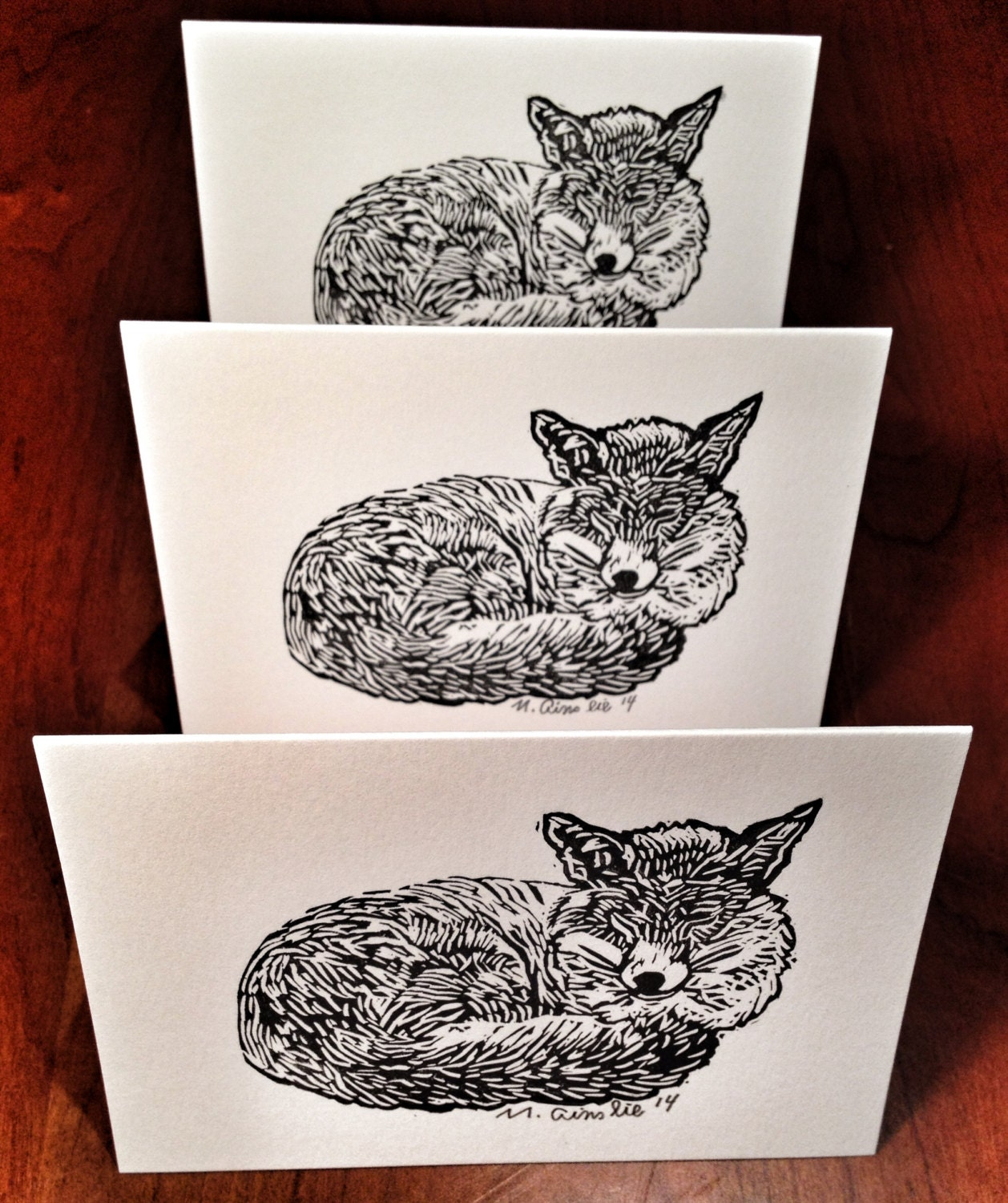 Sleeping fox, fox, linocut, lino cut, fablemountain, fox card, fox print, fox linocut, mark ainslie