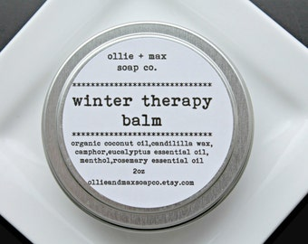 Winter Therapy Balm, Sinus Therapy, Vapor Rub, Natural, Cold Care,Vegan