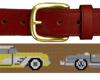 Classic Sports Cars Needlepoint Belt Canvas