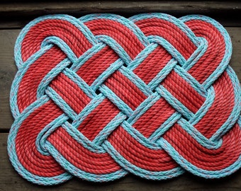 """Doormat 26 x 20"""" Red with Light Blue Accents Rope Rug  INDOORS OR OUTDOORS"""