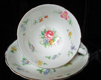 "Tuscan ""Bouquet"" Floral Bone China Cup and Saucer"