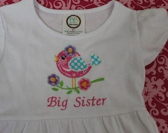 Big Sister Bird Applique Dress
