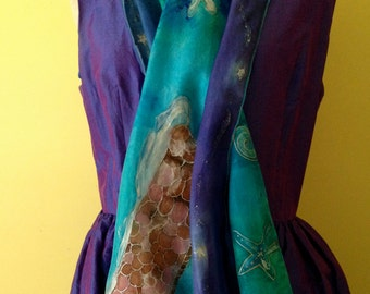"Handpainted Original Silk Scarf or Shawl ""The Breakwater"" Wearable Art by The Silk Maid"