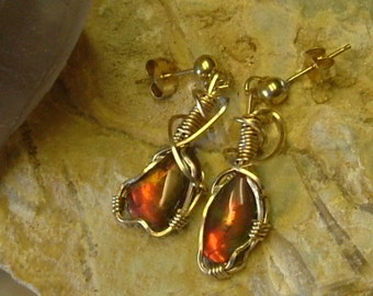 Red to Orange, Green and Yellow Fire Gem Ammolite as Pebble Jewelry from Utah Deposit in Gold Filled Wire Wrapped Post Earrings 253