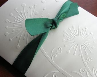 Dandelion Card Set (8 Embossed Nature Design for Summer) in Ivory