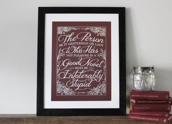 Enjoy a good book, Jane Austen Quote, Pride and Prejudice, literary gift, Wall art, Typography print, Pen drawn, Chatty Nora