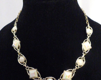 "Vintage ""Mother of Pearl"" Silver Necklace"