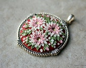Lovely Floral Clay Applique Pendant in Pink, White and Green with Swarovski Crystals