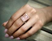 MOTHER'S DAY SALE - rose quartz ring,large cocktail ring,rectangular ring,rose gold ring,statement ring,gemstone ring,love ring,lovers r