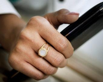 druzy ring, gold ring, druzy jewelry, gold and white ring, gemstone ring, rough ring, semi precious ring, vintage ri