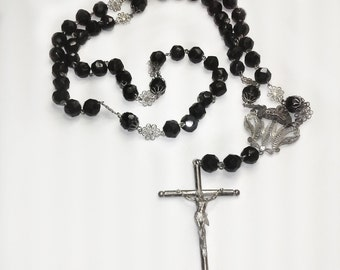 SALE reduced from 150 - Antique Glass and Sterling Silver Rosary