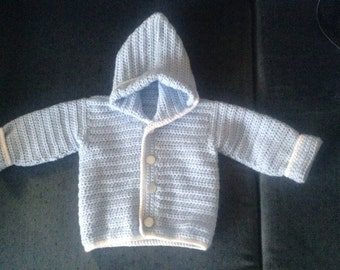 Crocheted hooded baby cardigan