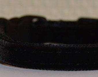 Dakota - Black  velvet Cat Collar - unique handmade adjustable breakaway soft cat collar