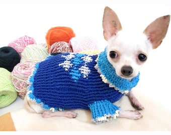Unique Dog Sweater Teacup Chihuahua Clothes Clothes for Kittens Puppy Blue Plaid Argyle Hand Crochet Unique DK854 Myknitt - Free Shipping