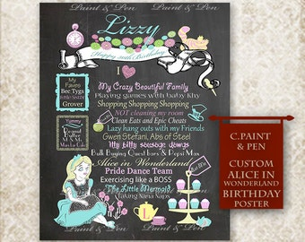Original Art Alice in Wonderland Party- Custom Birthday Chalkboard- Mad Hatter Party- Wonderland Cupcake Party- Tea Party-  Girls Party Idea