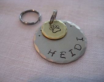 Pet Tag- Stamped Paw Print Charm on Hand Stamped Disc