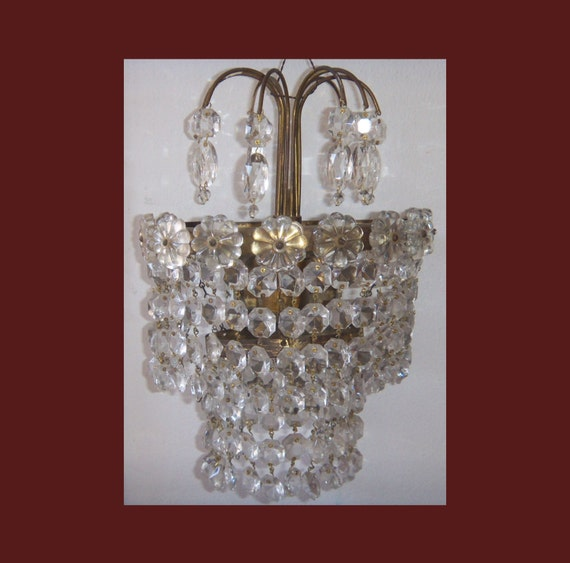Vintage Crystal Wall Lights : Vintage Crystal WALL LIGHT SCONCE