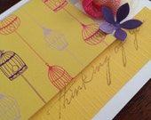 ON SALE - Thinking of You Birdcage Rosette Flower Note Cards - yellow, bright pink, grey, purple