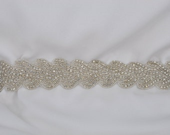Genevieve - Rhinestone applique Bridal Belt, Sash