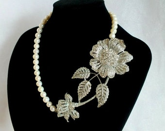 Sunflower - Freshwater Pearl Bridal Necklace