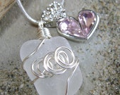 Handmade Seaglass Jewelry: Crystal Heart Seaglass Necklace Valentine's Day