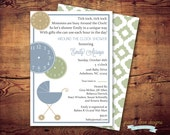 Printable Around the Clock Baby Shower Invitations (digital file) DIY Printing at home or your choice of printer
