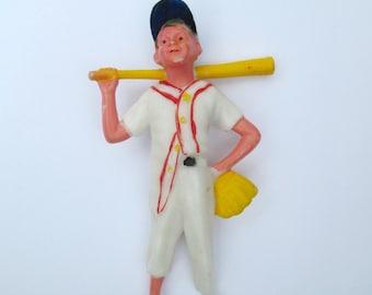 Vintage Baseball Player Cake Topper 1960s Little League Hartland Plastics Figure