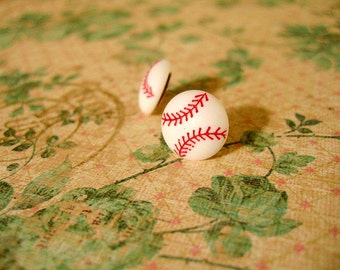 Baseball Button Earrings Button Earrings Baseball Jewelry Sport Earrings