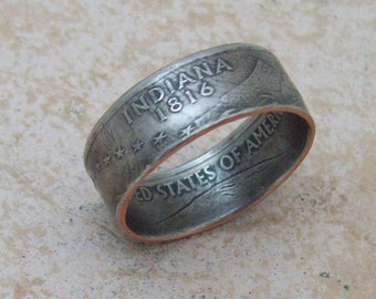 Made To Order Copper Nickle Handmade Jewelry INDIANA State Quarter Ring Christmas Gift or Stocking Stuffer You Pick the Size 5-10