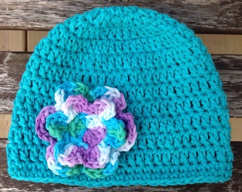 Turquoise Baby Crochet Hat with Flower