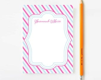 Girls Striped Stationery, Personalized Girls Stationery, Custom Stationery, Personalized Note Cards, Personalized Stationary, Pink and Blue